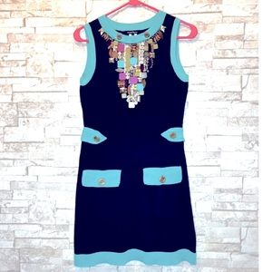 Nanette Lepore Beaded Knit Dress Belted
